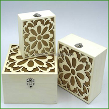 Distressed Wooden Gift Box With Engraving Flower Llid