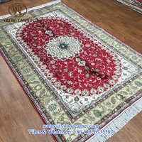 henan factory 5x8ft red handmade oriental china silk persian hand knotted indian rugs