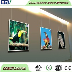 High quality slim hanging led aluminum poster frame, snap frame light box for indoor advertising