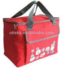 Insulated cooler tote bag with front pocket