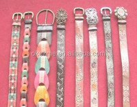 factory direct promotional women embroidery leather belt with lovely unique buckle