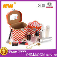 Professional cylinder plaid PU cosmetics case with mirror makeup box organizer toiletry bag