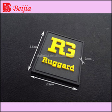 High quality debossed hangtag garment tags custom pvc 3d rubber patch