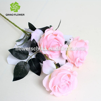 High quality pure handmade fabric colorful artificial rose flower wholesale