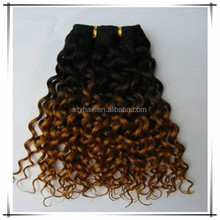 2015 fashion hair extension double drawn Russian/European human hair weft with kinky curly with ombre color