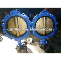 Gear drive butterfly valve with wafer connection