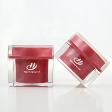 Square Shape Diamond Cap Acrylic cream jar for cosmetic packaging Best selling Plastic acrylic jars and lids