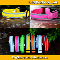 50pcs illumination Colour Sharp nylon LED dog collar with reflective strip glow flashing safety protect ur dog at night DC-2517