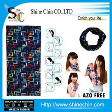 Printed geometric square navy blue headwear