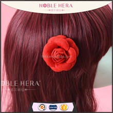 Elegant red flower hair clips unique cheerleading hair accessories
