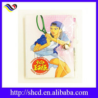 small cute sports character cartoon notebook with soft pvc cover and pen