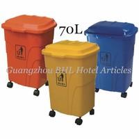 Wholesale Kitchen Office Home Usage Plastic folding waste basket out door push waste bin kitchen recycling bins trash bin 70L