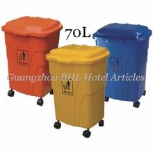 Venta al por mayor de la cocina de la oficina uso doméstico plegable de plástico cesto de ahueca hacia fuera de la puerta de empuje basura de la cocina contenedores de basura cubo de basura 70L