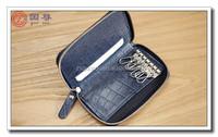 Fashion Handmade Leather Car Keychain Key Holder Bag Wallet Cover/Key Hook Zipper Case with Card Holder
