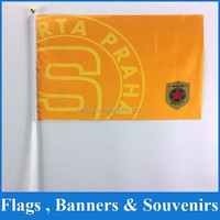 Custom high quality 30x45cm polyester Hand Waving Flags with pvc flag pole