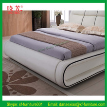 2015 New luxury leather king size bed white (XFL-8006)
