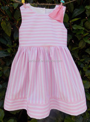 girls casual dress pink and white stripe lovely dress children boutique dress