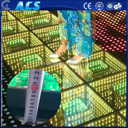 wedding cafe club led dance floor/led 3d dance floor mirror/tampered glass led dance floor