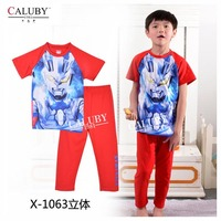 Baby Boys Ultraman Clothes Kids Autumn -Summer Pajamas Set 2015 New Wholesale Children Cartoon Clothing Sets X-1063 1067 1068 3D