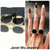 Customized Free Sample Express Shipping 2015 New Fashion Punk Metal Women Jewelrys Glasses Two-Finger Ring
