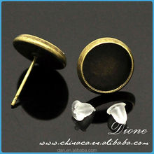 14mm bezel stud earrings for making resin jewelry, brass plated setting, lead and nickel free