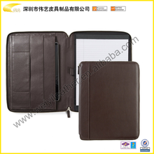 high quality a4 leather conference folder a4 size leather portfolio with notepad Brown Vintage Leather Zippered Padfolio