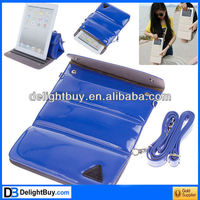 Superb Shoulder Strap Protective PU Leather Bag Case with Stand Function for New iPad/iPad 2