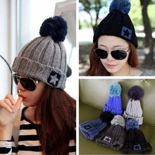 New Winter Beanie Women Five-Pointed Star Pompon Hat Knitted Warm Touca Wool Caps Hip-hop Skullies Hats For Men