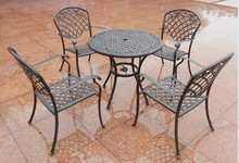 All Weather Outdoor Furniture 4 Seats Round Cast Aluminum Dining Set For Garden Patio