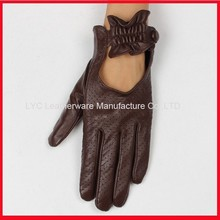 Alibaba wholesale coffee punched holes mens driving leather gloves