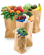Custom made size food grocery kraft paper bag