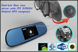 "Dual-lens rearview mirror 5.0"" IPS screen android gps navigator rear-view camera with monitor camcorder DVRs"