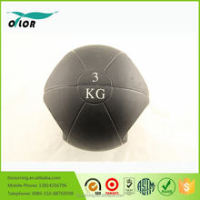 Two handles double grip black rubber medicine ball with handles