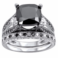 China factory on sale black stone rhodium plating fashion victorian style wedding rings