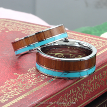 tungsten steel turquoise stainless steel ring, fashion wooden ring for couple