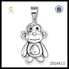 lovely design solid plain silver monkey 925 sterling silver charm fit necklace and bracelet
