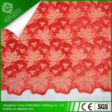 Newest maple leaf design afrian style organza lace/double organza lace with stone for women dress or party FY3071