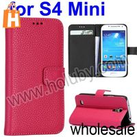 Lichee Pattern Magnetic Wallet Side Folio Stand Leather Case for Samsung I9190 Galaxy S4 Mini with Card Slots (Hotpink)