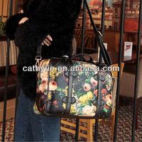 Oil printing PU leather lady handbag shoulder bag 2013 style for promotion