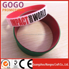 events celebration dual layer silicone bracelet factory, dual layer silicone bracelet for bussiness activity, promotional gifts