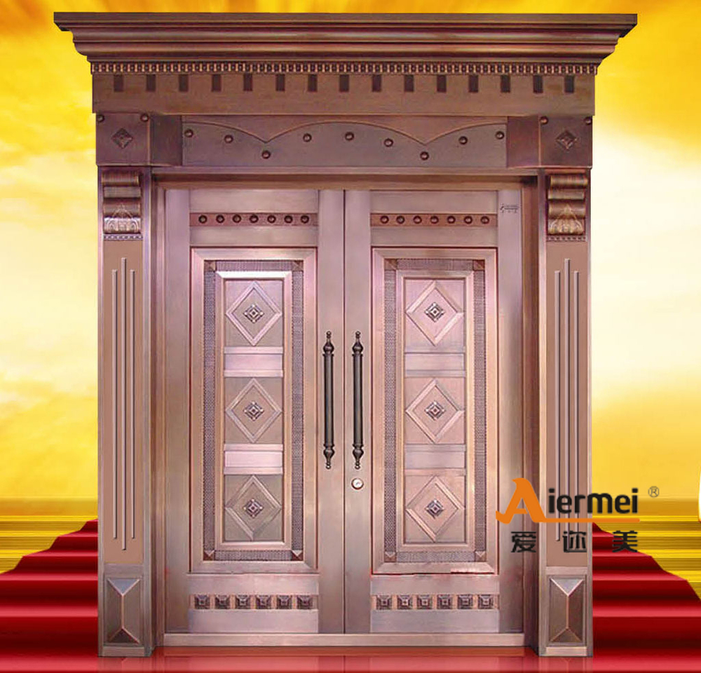 Security copper double door design main entrance door for Entry double door designs