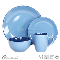 16PCS colored round stoneware color glaze embossed ceramic dinnerset|16pcs cookware set