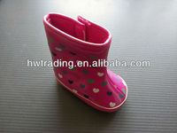 2013 Lovely baby PU printing booties for girl