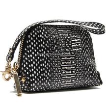 CW881-001 Exotic snake skin black and white genuine leather women handbag wallet like shell