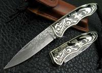 OEM handmade Damascus white bone handle folding knife UDTEK01204