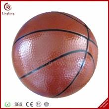 Promotional PU anti stress ball soft stuffed brown 4 inches PU leather basketball