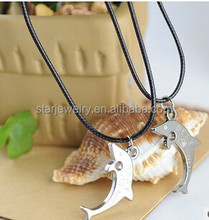 Silver dolphin lovers necklace jewelry stainless steel