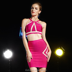 2015 new 2 pieces fashion sexy belly bandage dress for cocktail party
