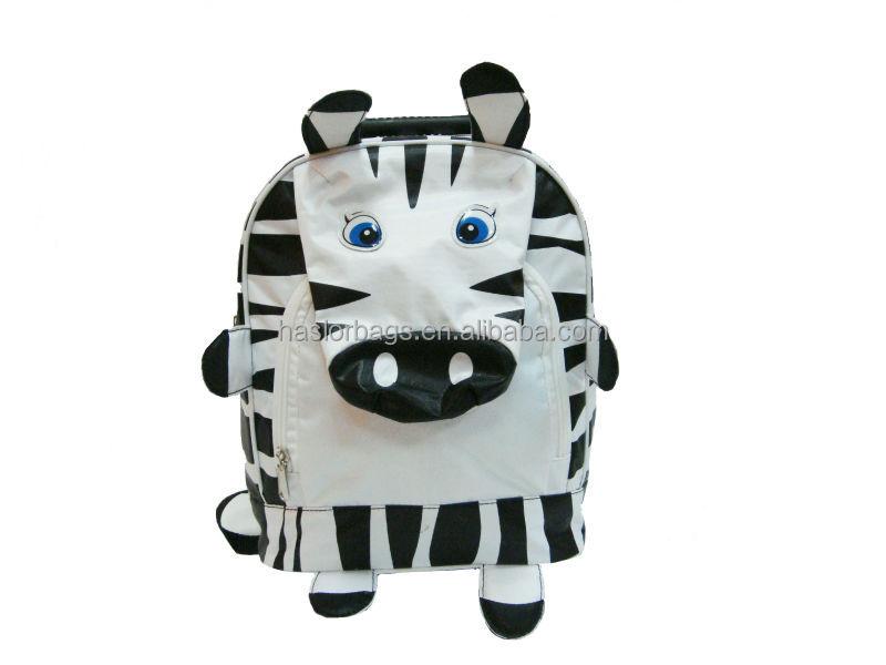 Kids Hot Sale Polyester Cute Cartoon School Bag,Wheeled Trolley School Backpack