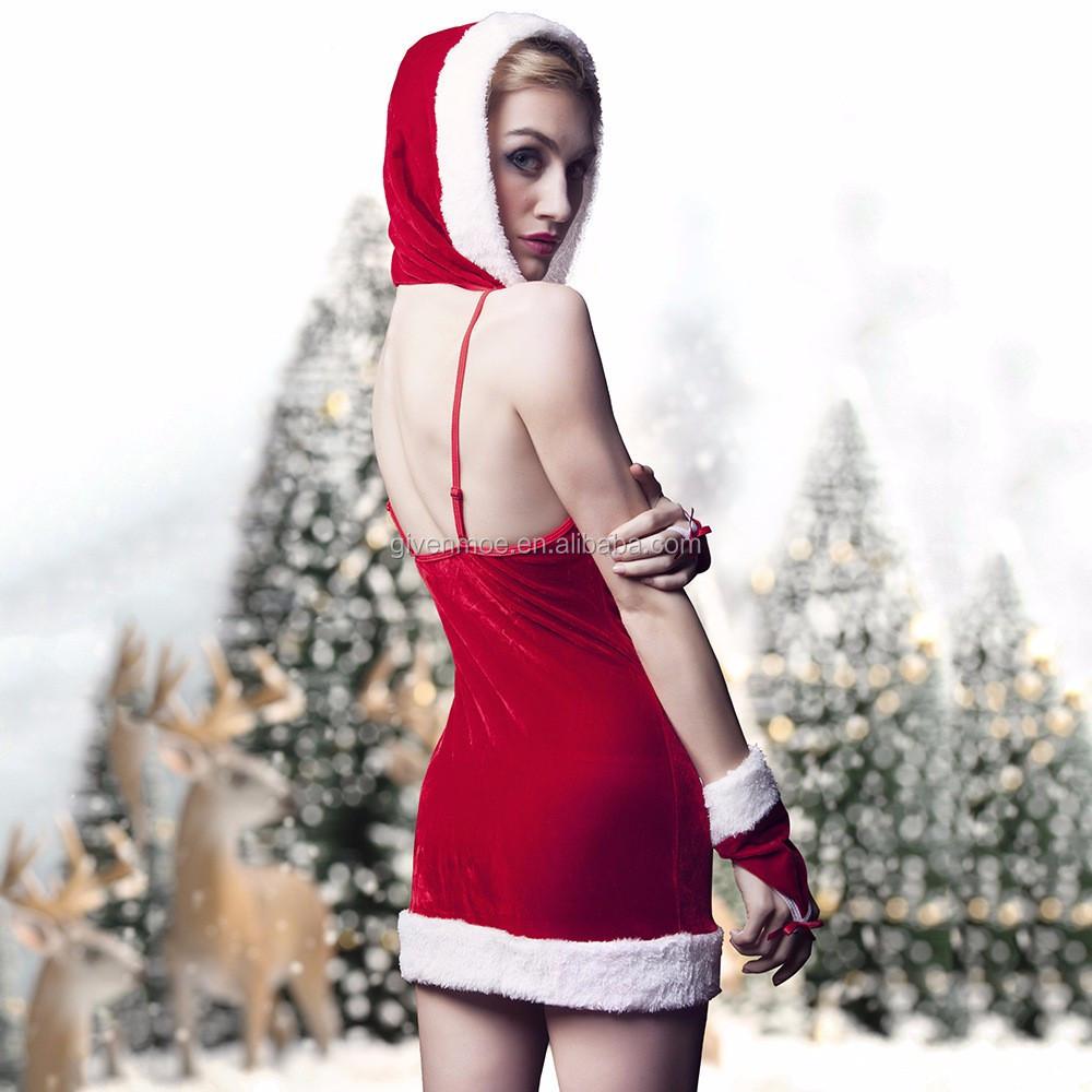 Novo modelo de mulheres das senhoras da menina de veludo sexy bonito traje De Natal com a frente do buraco da fechadura